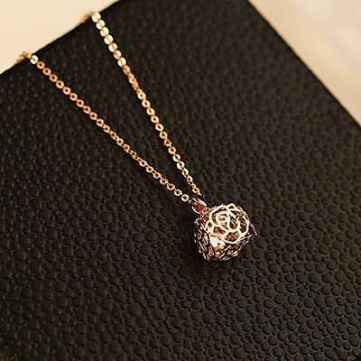 項鍊 玫瑰金純銀 鑲鑽吊墜-優美玫瑰生日情人節禮物女飾品73bw30【時尚巴黎】