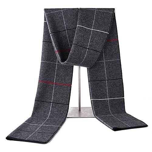 羊毛圍巾-休閒學院風格子針織男披肩3色73wh17【時尚巴黎】