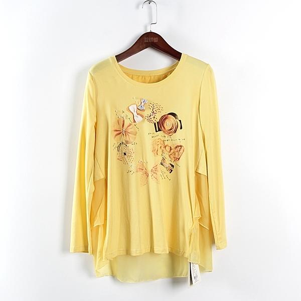[超豐國際]鋇夏裝女裝檸檬黃清新多層蕾絲圓領針織衫 散897(1入)