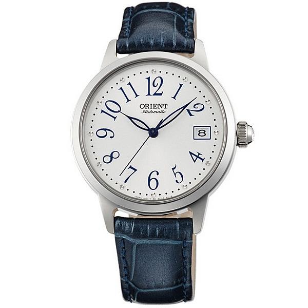 【台南 時代鐘錶 ORIENT】東方錶 FAC06003W ELEGANT系列花漾時光機械錶 皮帶 藍 35mm