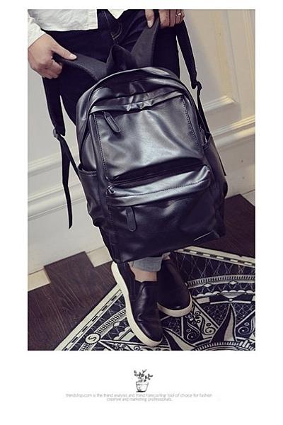 《澤米Jammy》男士復古休閒雙肩包背包電腦包學院風韓版學生書包女PU皮旅行潮包流行包時尚包後