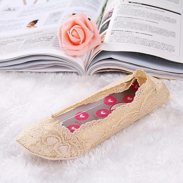 蕾絲棉無痕船型襪矽膠腳底防滑隱形襪(12雙)