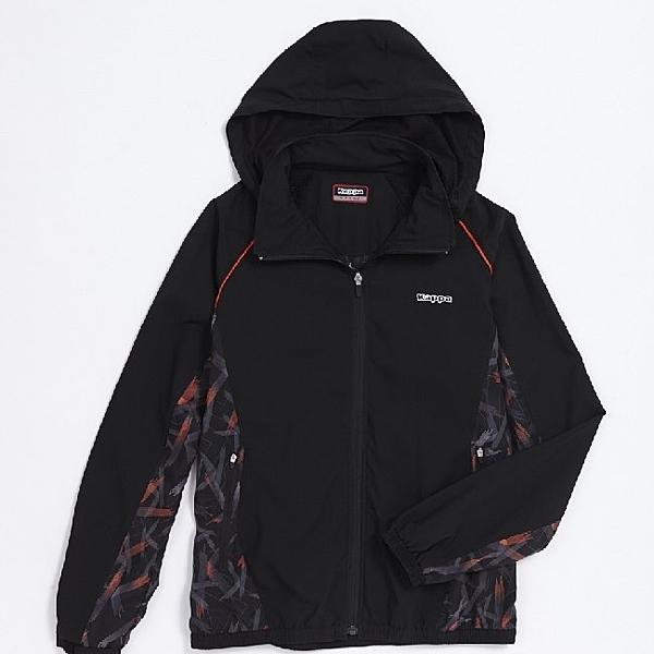 KAPPA義大利型男單層風衣外套 網布內裡 可拆帽 黑 磚橘數位印花 白 304P3M0-910