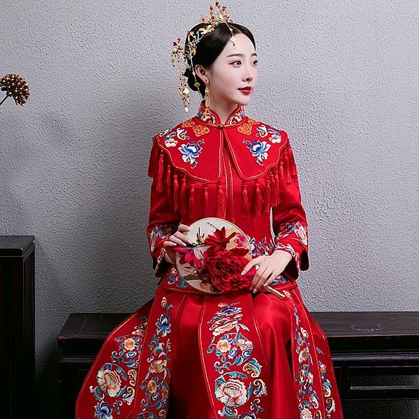 秀禾服新娘免運新款中式禮服古代婚紗鳳冠霞帔結婚古裝出閣服嫁衣