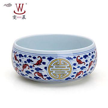 陶瓷手繪青花五彩慶壽茶洗