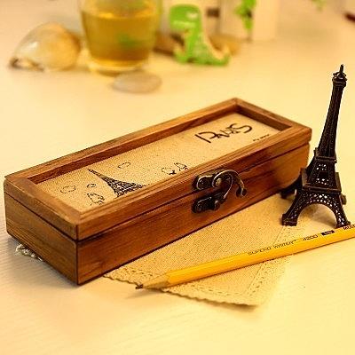 【復古風木質搭扣收納盒 LA205】NO135文具盒 鉛筆盒【八八八】e網購