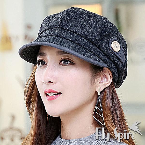 貝雷冬帽子-韓版女款羊毛呢混紡保暖八角南瓜貝蕾軟眉帽15AW-K001 FLY SPIN