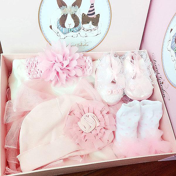 嬰兒禮盒春夏蕾絲公主新生兒禮物純棉滿月女寶寶衣服裝大禮包禮品─預購CH1187