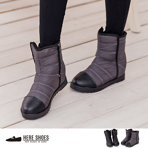 [Here Shoes]零碼36-39 太空尼龍防潑水材質 平底中筒靴 時尚新款魔鬼氈好穿脫 太空靴 2色─AA801