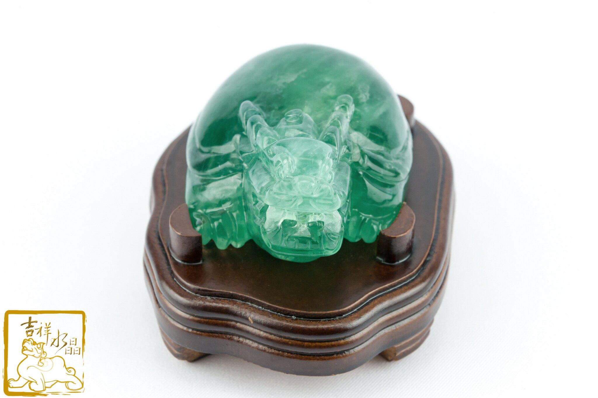【吉祥水晶】綠螢石龍龜擺件 400g 長命百壽