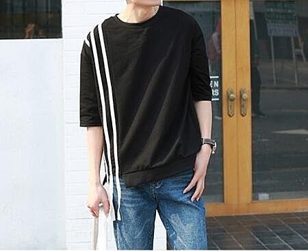FINDSENSE MD 韓國 潮 男 時尚 純棉 三杠條紋拼接 短袖T恤 打底