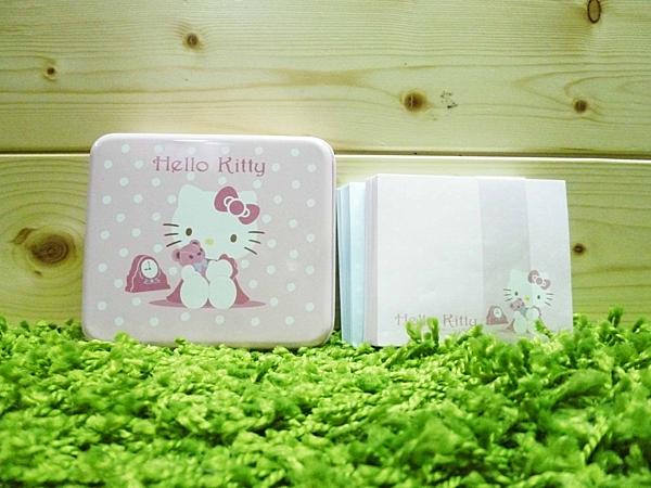 【震撼精品百貨】Hello Kitty 凱蒂貓~便條紙附整理盒-KT抱熊鐵盒【共1款】