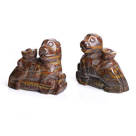 (單個) 屬猴吉祥物 財獅抱喜棕色擺件