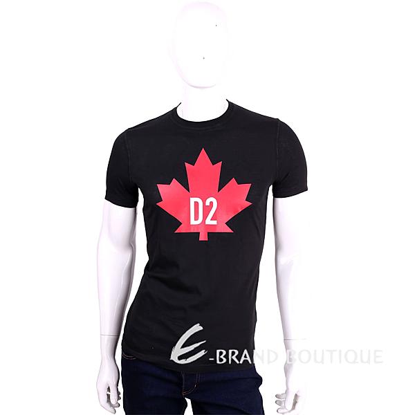 Dsquared2 黑色紅楓葉品牌LOGO棉質短袖T恤 1620135-01