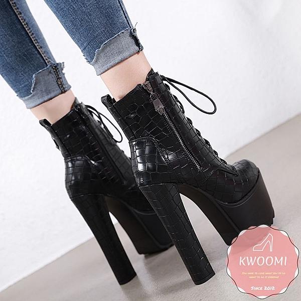 高跟短靴 絨質拼接側邊皮帶扣 裸靴 踝靴 大尺碼35-40 *KWOOMI-A92