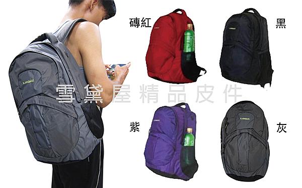 ~雪黛屋~KAWASAKI後背包大容量二層主袋13吋電腦胸前釦超輕高單數防水尼龍布可放A4資料夾HKA123