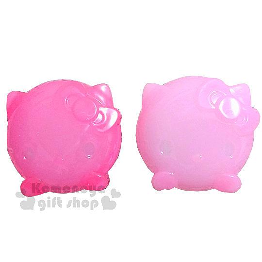 〔小禮堂〕Hello Kitty 造型乳液盒《2入組.透明.粉/桃紅.大臉》附造型勺子 4573135-57520