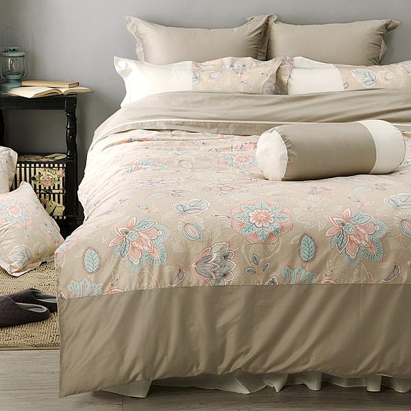 《 60支紗》雙人床包薄被套枕套四件組【波隆那 -米花】-LITA麗塔寢飾-