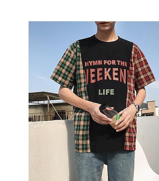 FINDSENSE H1 2018 夏季 日本 個性 拼接格子 印花 T恤 潮流