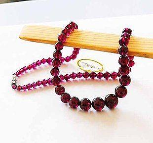 水晶紫牙烏玫紅石榴石項鏈