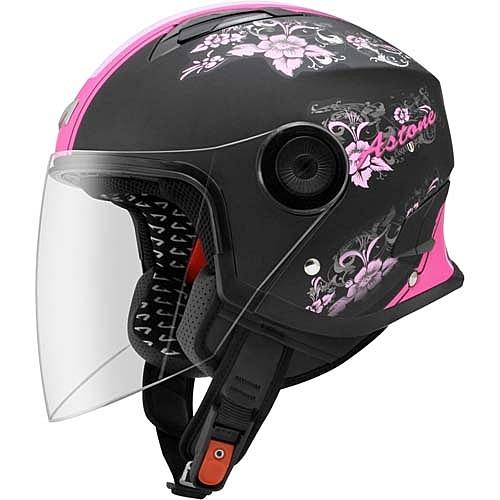【東門城】ASTONE MJ AS2 (平黑/粉紅) 半罩式安全帽 加長型鏡片