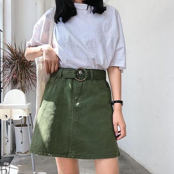 春季2020新款韓版學生百搭高腰半身裙女夏顯瘦牛仔裙A字裙短裙子 萬聖節狂歡價