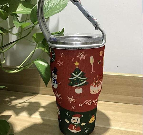【聖誕杯套】小麋鹿 冰霸杯 套彩色可愛提袋廠家批發瓶子隔熱保溫布套專用雪山杯酷冰杯