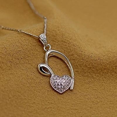 項鍊 925純銀鑲鑽吊墜-經典大方生日情人節禮物女飾品73fy111【時尚巴黎】