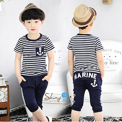 【R0641】shiny藍格子-嬰幼館.春裝新款男童海軍風條紋短袖短褲套裝