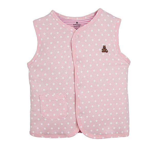 女Baby女童裝鋪棉背心粉色小星星印花純棉鋪棉背心現貨歐美品質