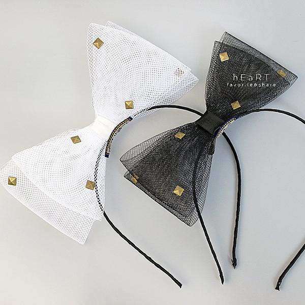 網紗鉚釘立體蝴蝶結髮箍 髮飾 頭髮造型用品 髮箍