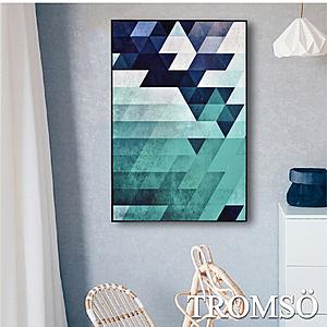 TROMSO 北歐生活版畫有框畫 綠境菱格 WA72