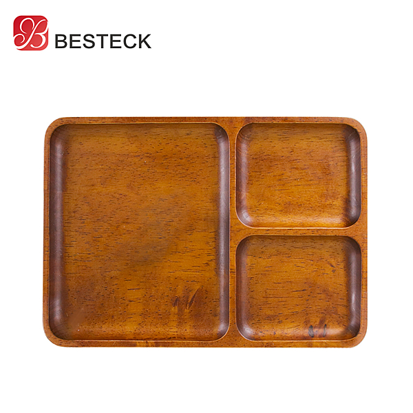 【BESTECK】洋槐木分隔餐盤-長方款