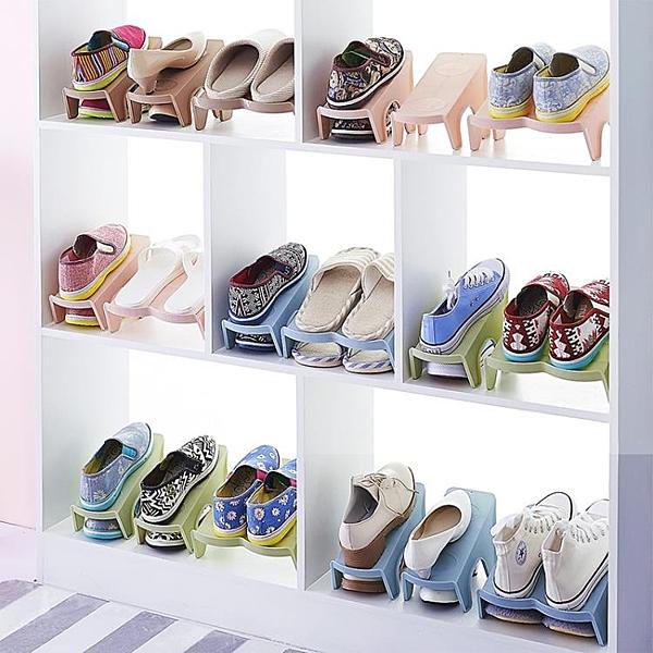 [超豐國際]家用雙層鞋子收納架塑料一體式鞋托簡約現代客廳衣柜簡易收納鞋架