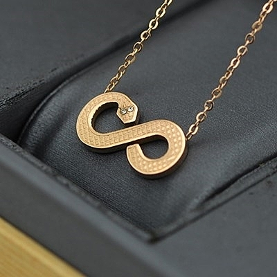 玫瑰金鑲鑽純銀項鍊-十二生肖小蛇流行生日母親節禮物女飾品71x140【巴黎精品】