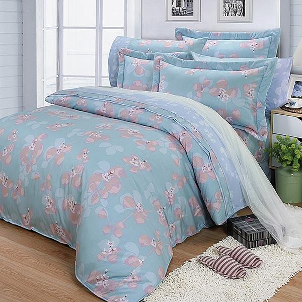 【FITNESS】精梳棉雙人七件式床罩組-佛洛拉(藍綠)_TRP多利寶