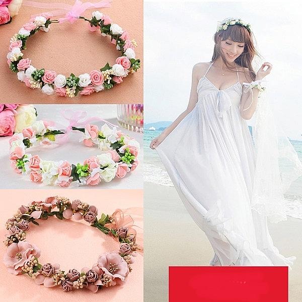新娘韓式森女海邊花環頭飾頭環新娘伴娘兒童結婚禮婚寫真發飾─預購CH1640