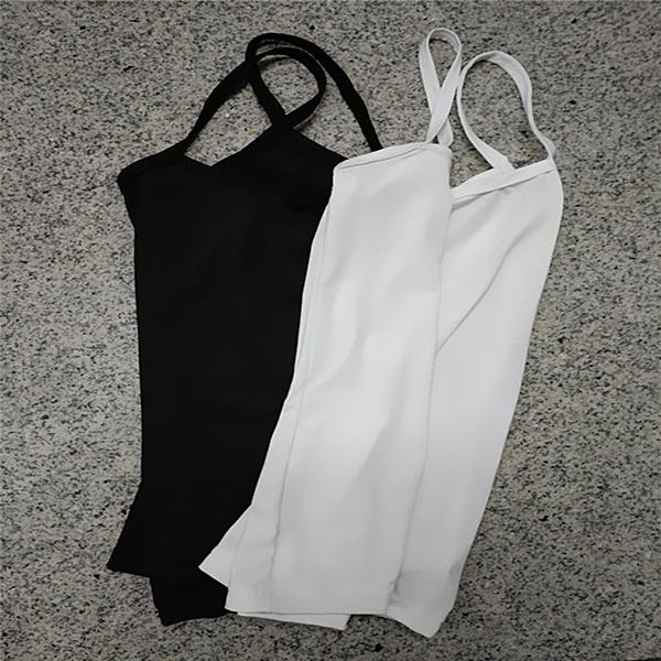 [超豐國際]吊帶背心女裝夏季百搭寬松修身黑色外穿緊身上衣打底1入