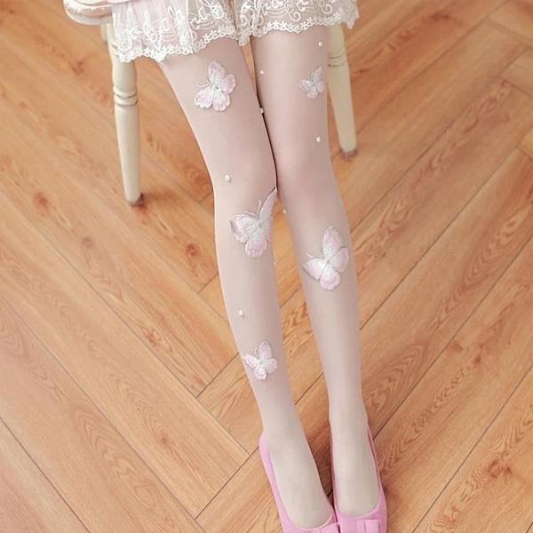 [超豐國際] 韓國蝴蝶絲襪 立體刺繡蝴蝶絲襪 打底襪連褲