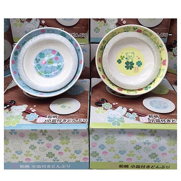 【震撼精品百貨】Rilakkuma San-X 拉拉熊懶懶熊~RILAKKUMA 和柄陶瓷碗盤組(藍/黃2款)