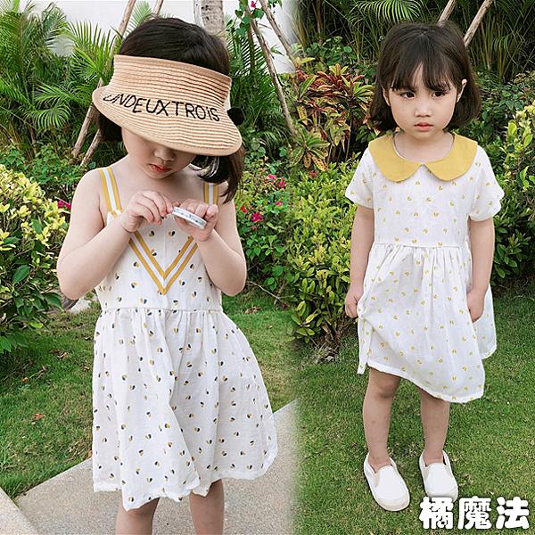 透氣棉紗愛心荷葉領連身裙 洋裝 橘魔法 Baby magic 現貨 童裝 連身裙 夏天
