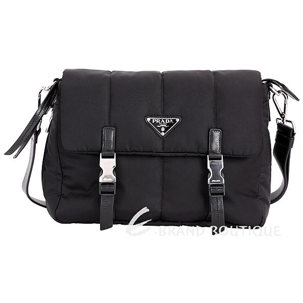 PRADA Bomber 三角牌雙釦式尼龍鋪棉郵差包(黑色) 1711097-01