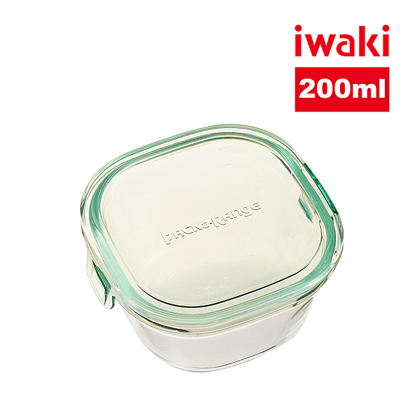 【iwaki】日本耐熱抗菌玻璃方形微波保鮮盒200ml-綠
