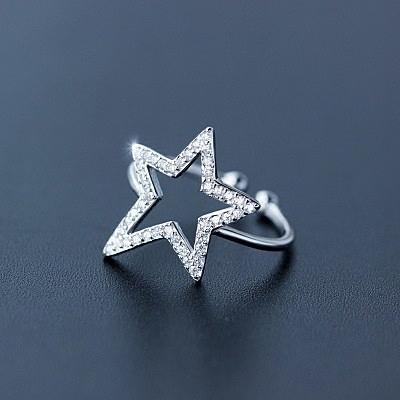 戒指 925純銀 鑲鑽-精緻星星生日情人節禮物女開口戒73dt405【時尚巴黎】