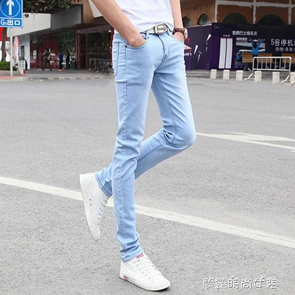 韓版夏季天藍色褲子男修身小腳褲薄款彈力休閒牛仔褲男士長褲潮流  【快速出貨】