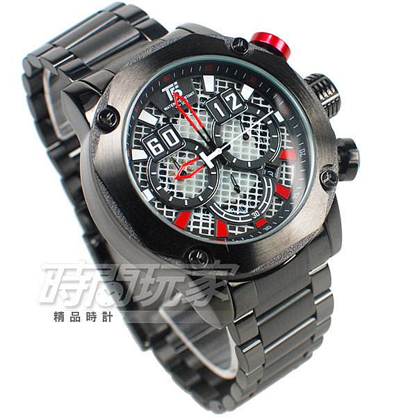 T5 sports time 粗曠 個性型男 三眼計時手錶 熟男Look 計時碼錶 防水 日期視窗 H3657紅黑