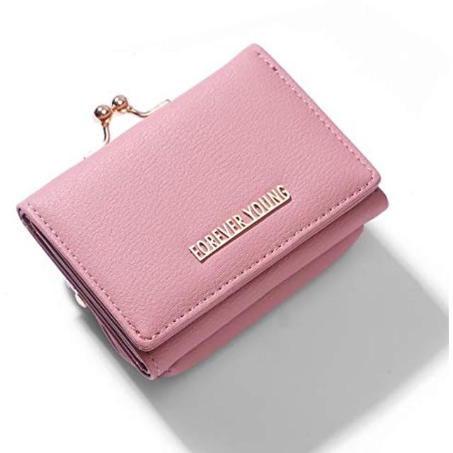 Xmeng レディース 財布 三つ折り財布 大容量 小銭入れ付 小型 軽量 人気 ウォレットかわいい 女性用 (ピンク-2)