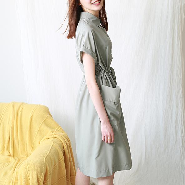 [超豐國際]W  22 淑女氣質 純色 抽繩連衣裙 女  7