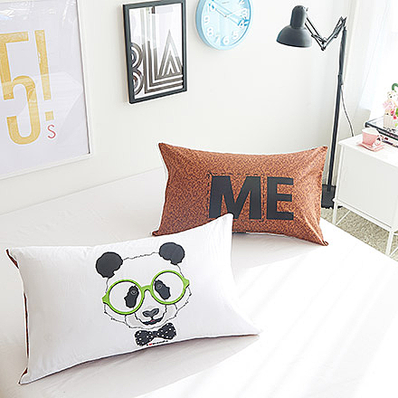 100%精梳棉設計款雙枕套《眼鏡熊》