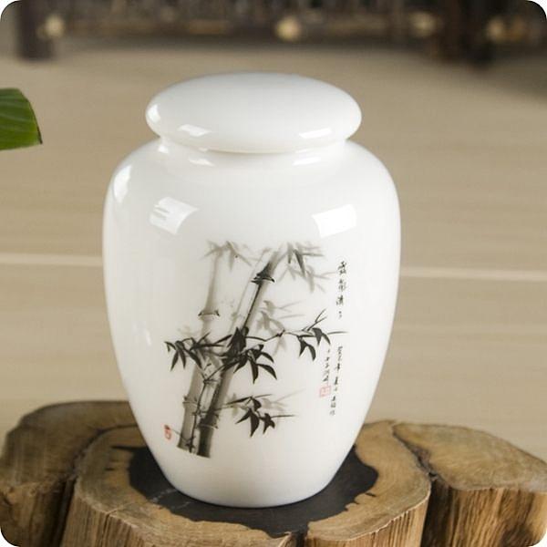 青花小號陶瓷茶葉罐 冰裂汝窯(竹花)